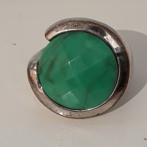 Mod Ring with Faceted Blue Green Stone